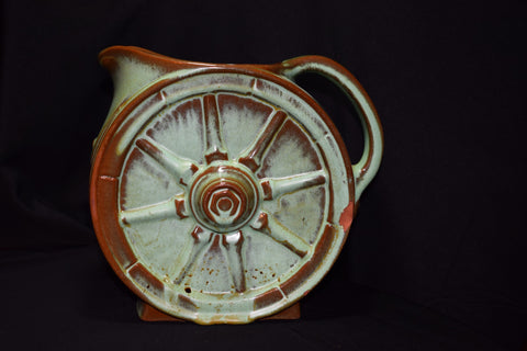Frankoma 94D Praire Green Wagon Wheel Pitcher