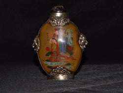 Inside Painted Snuff Bottle with Metal Trim