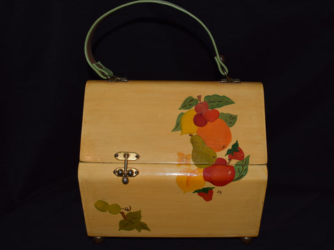 Vintage Hand Painted Wooden Purse