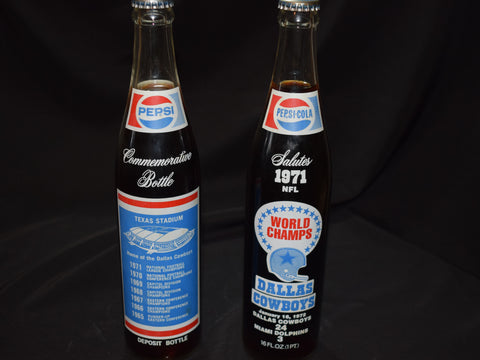 Pepsi-Cola Salutes 1971 NFL World Champs Dallas Cowboys Full Bottle