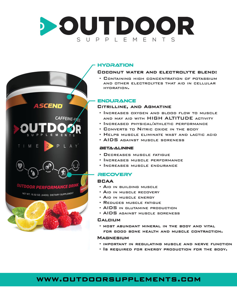 Ascend - Caffeine Free Sugar Free Energy Drink for workout and outdoor performace/adventure in Raspberry Lemonade Flavour- OutdoorSupplements
