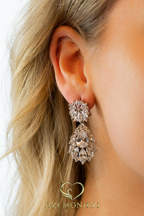 white Gold Dangle Statement Earrings, 18k Gold plated,Trendy, Crystals,Wedding Jewelry