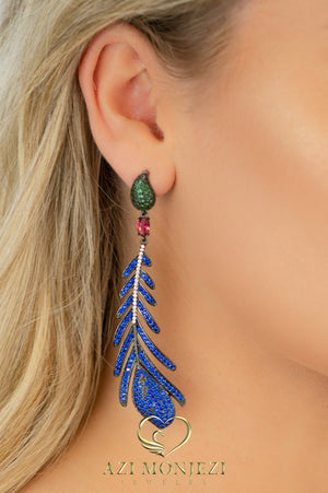 Wavy multi color stones statement earrings