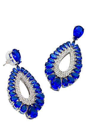 BLUE EYE - 18K Powder Gun Plated Saphire Drop Earrings