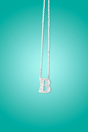B - 18K Gold Plated B Initial Necklace & Crystals