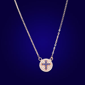CROSS ME NOT - 18K Gold Plated Evil Eye Saphire Cross Necklace