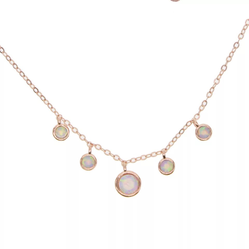 PRECIOUS - 18K Gold Plated Opal Beaded Bazel Necklace