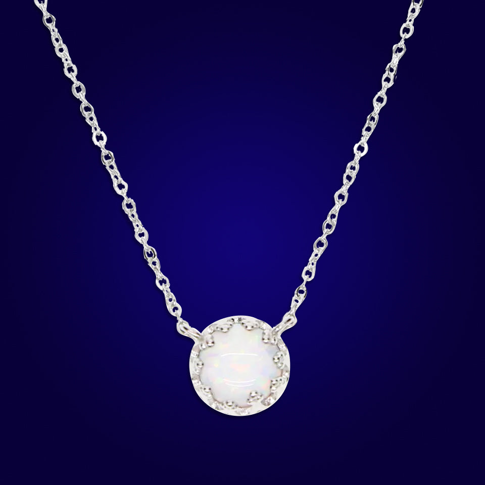 BORNA - 18K White Gold Plated Drop Bazel White Opal Necklace