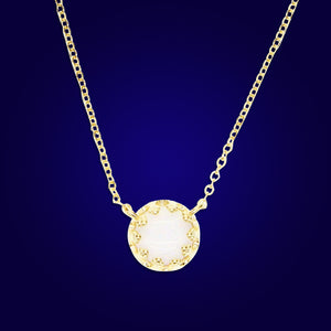BORNA - 18K Gold Plated Drop Bazel White Opal Necklace