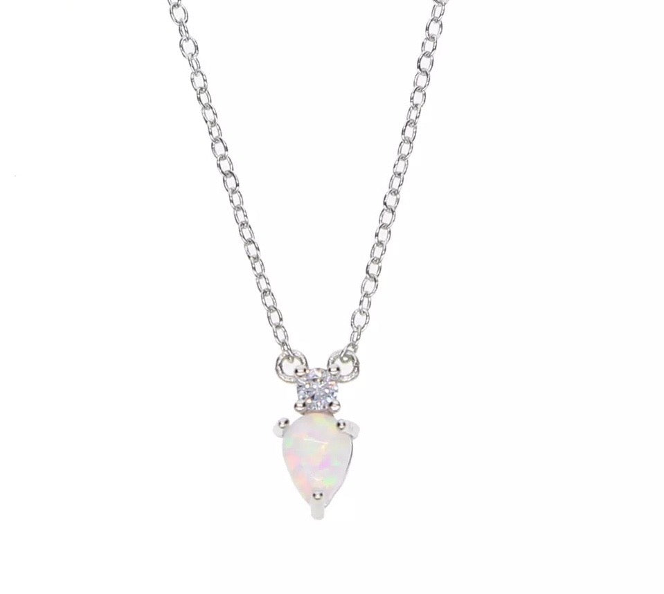 Opal Love - 18k White Gold Minimalist Necklace