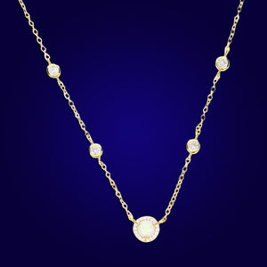 BREATHLESS - 18K Gold Plated Bezel Diamond Beaded Necklace