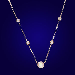 GODDESS -18K Opal Bazel Necklace
