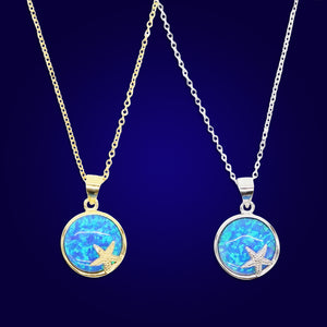 Moon Star - 18K Gold Plated Blue Opal  Necklace