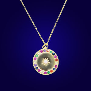 Rainbow - 18K Gold Plated Sun Necklace