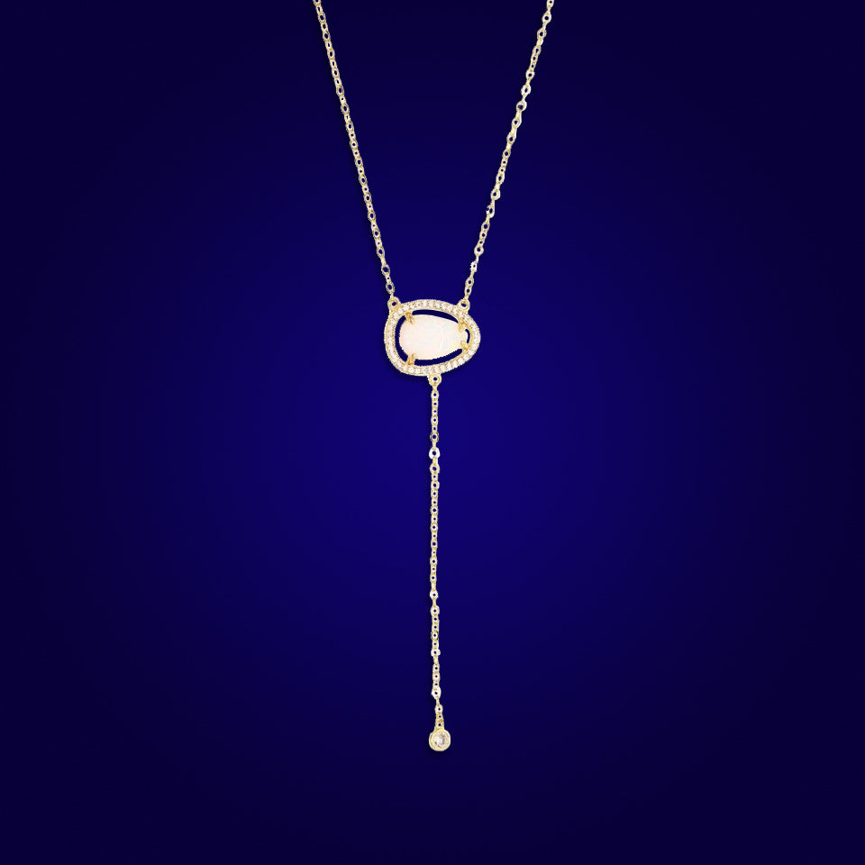 FOREVER MINE - 18K Gold Plated Drop Bazel White Opal Necklace