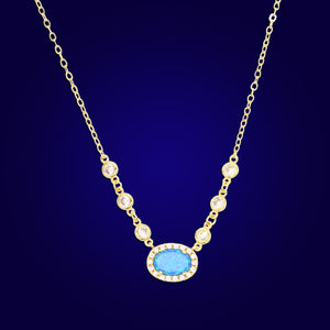 SUNSHINE - 18K Gold Plated Fire Blue Opal Bazel Diamond Beaded Necklace