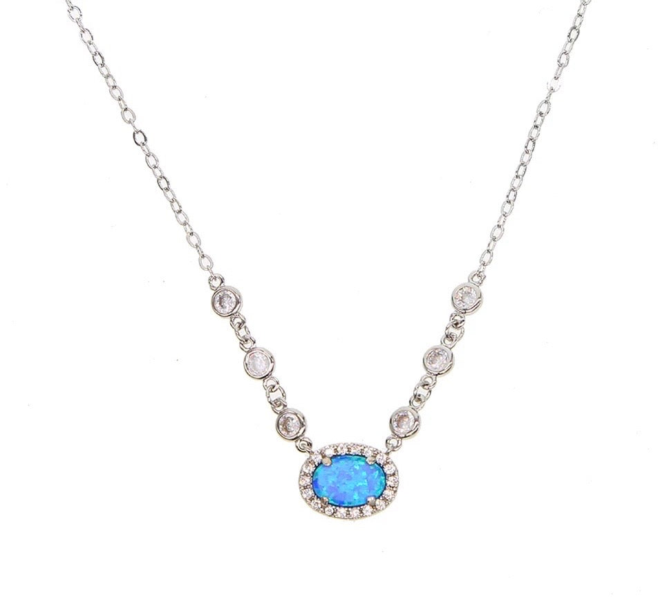 WOW ME - 18K Gold Plated Fire Blue Opal Diamond Beaded Necklace