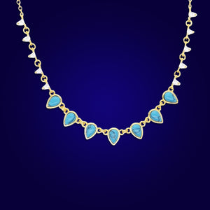 CLASSY SASSY - 18K Gold Plated Turquoise & Diamond Beaded Bazel Necklace