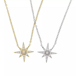 BORN A STAR - 18K Gold Plated Fire Opal & Diamond Star Necklace