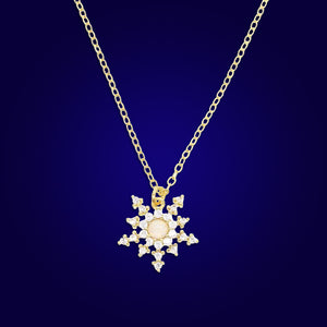 JUPITER - 18K Gold Plated Fire Opal & Diamond Sun Moon Necklace