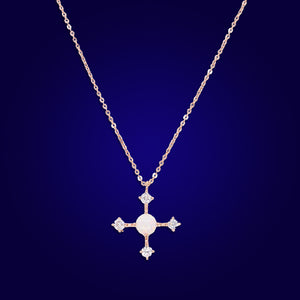 HEAL ME - 18K Gold Plated Fire Opal & Diamond Cross Necklace