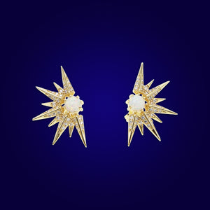 ARIA - 18K Gold Plated Star & Opal Diamond Earrings