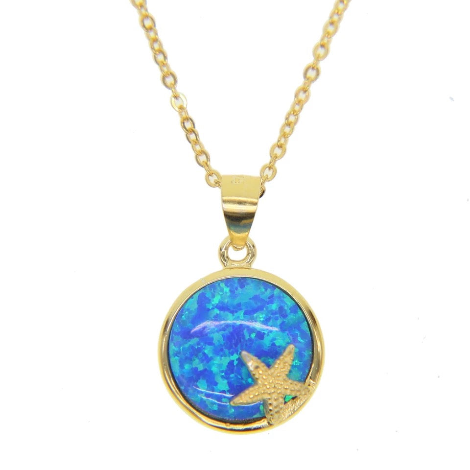 FIRE - 18K Gold Plated Fire Blue Opal Starfish Necklace