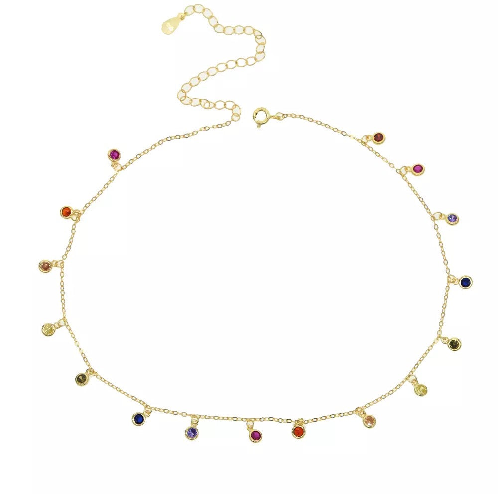 SPOIL ME GOLD  - 18K Multi Colored Bazel Diamond Beaded Necklace