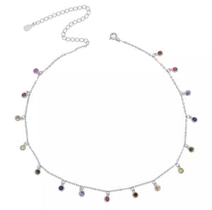 SPOIL ME - 18K Gold Plated Dainty Bazel Multi Color Stone Necklace