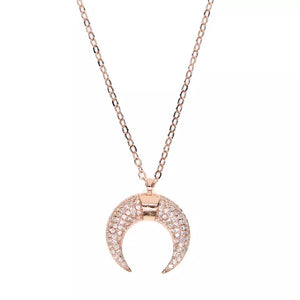 WOW ME - 18K Gold Plated Pave Diamond Moon Necklace - Symbol Of Female Empowerment