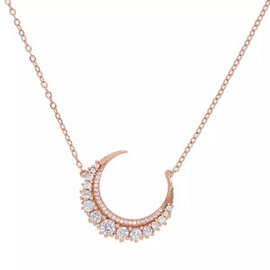 MOON LIGHT - 18K Rose Gold Plated Shinny Moon Necklace