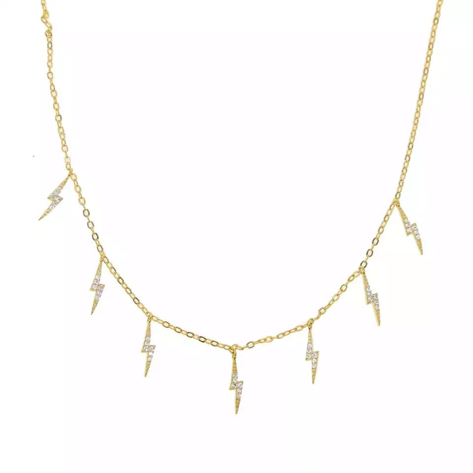 THUNDER - 18K Gold Plated Thunder Beaded Diamond Necklace