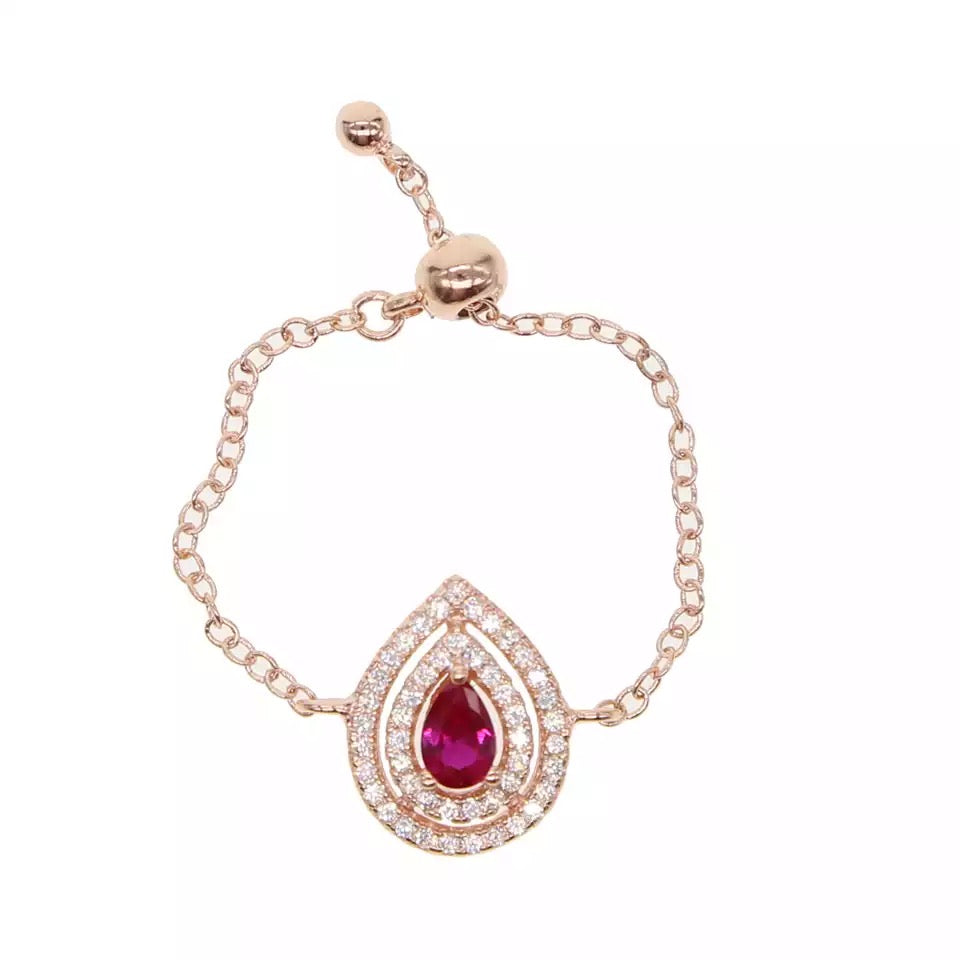 AMAZE ME - 18K Rose Gold Plated Pink Sapphire Pear Shape Chain Ring