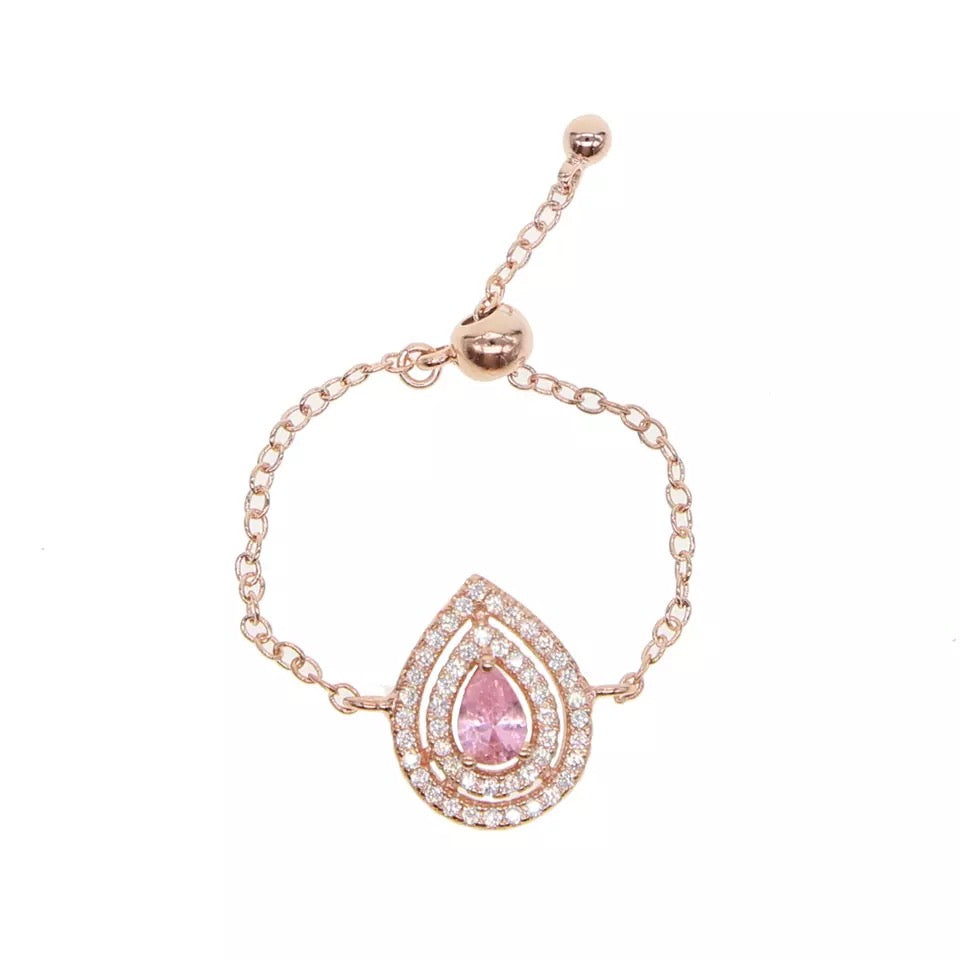 PARVAZ - 18K Rose Gold Plated Pink Emerald Pear Shape Chain Ring
