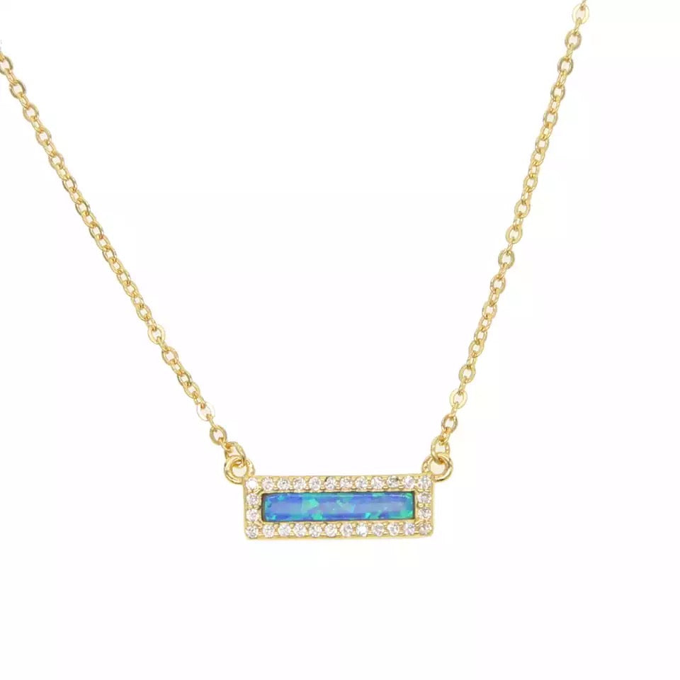 Titanic-  18K Gold Plated Blue Opal Necklace
