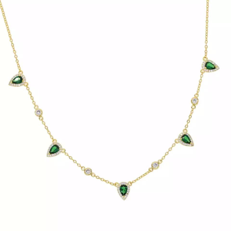 SUPER FAB - 18K Gold Plated Emerald Diamond Beaded Necklace