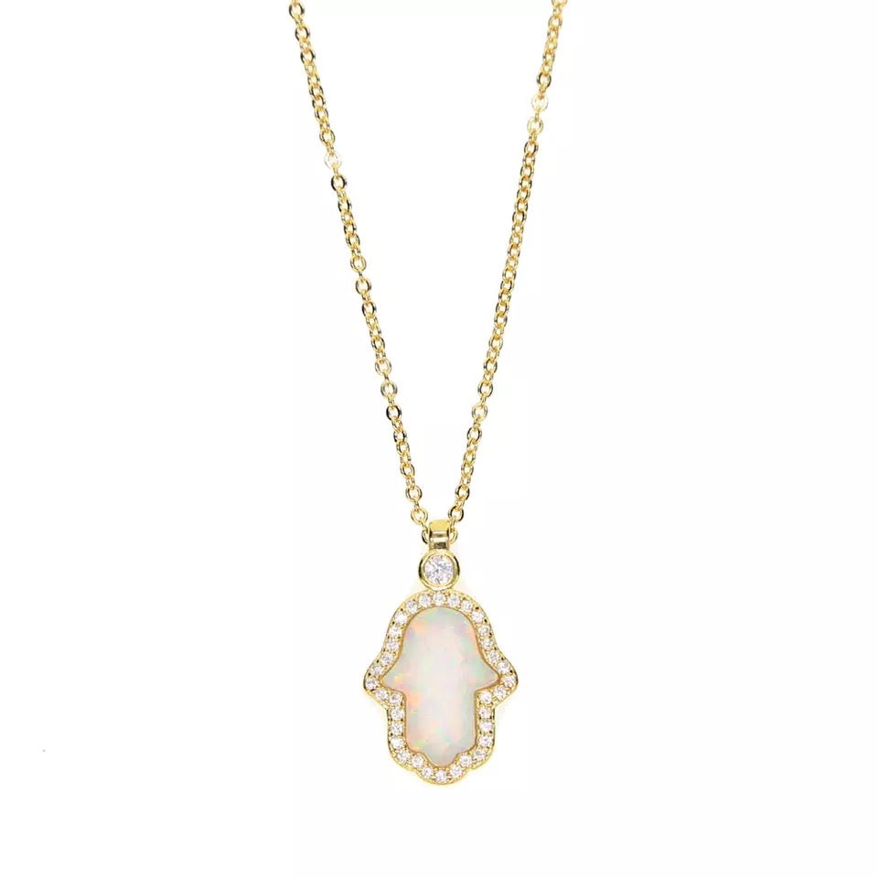 HAND IN GOLD - 18K Gold Plated Fire Opal Diamond Hamsa Hand Necklace