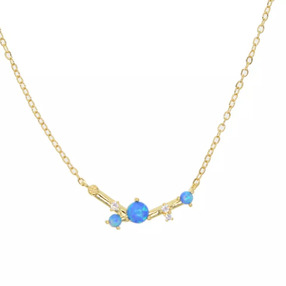 I AM BEAUTIFUL - 18K gold Plated Fire Blue Opal Dainty Necklace