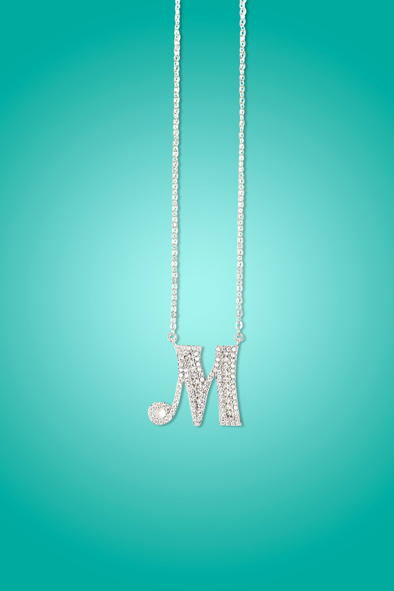 JOOJOO - 18K Gold Plated On Silver Initial Diamond Necklace