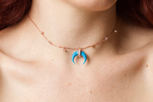 My Moon - 18k Gold Plate Diamond Beaded Turquoise Moon Necklace