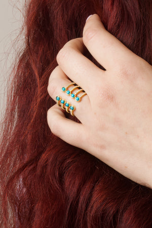 STRONG - 18K Gold Plated Turquoise Adjustable Ring