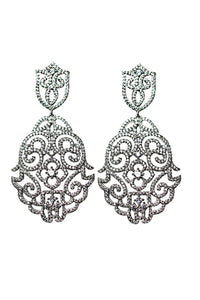 18k White Gold plated Statement Earrings,Bridal Jewelry