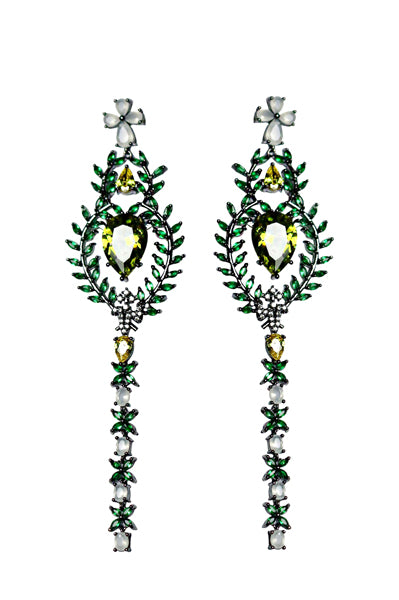 BOHOO CHICK - 18K Gold Plated Gun Powder Finish Statement Emerald Earrings
