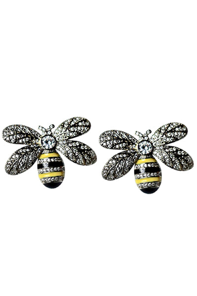 BEE MINE - 18K Gold Plated Enameled Bee Earrings