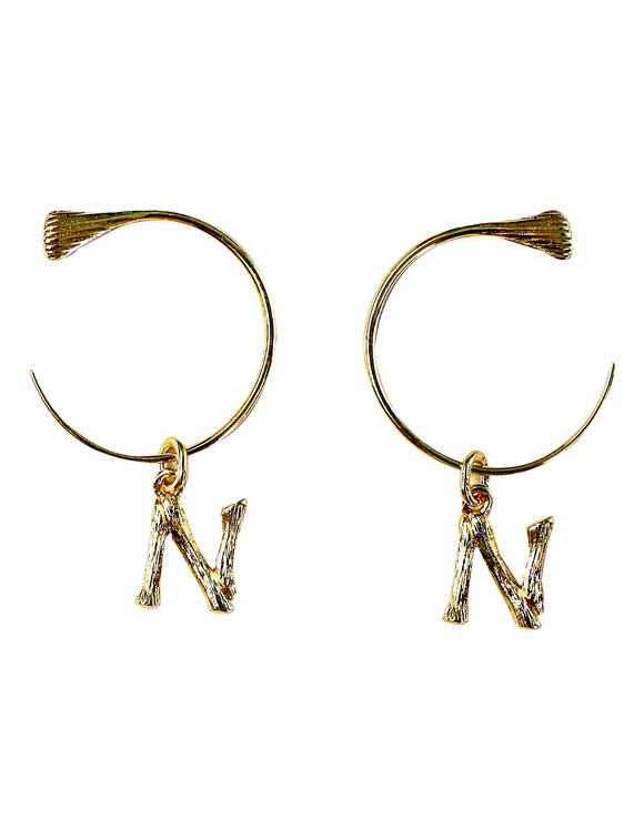 N Initial earrings