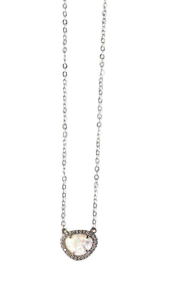 18k white gold-plated Opal minimalist necklace
