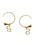 18k yellow gold-plated S letter initial earrings