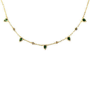 EMERALD - 18K Gold Plated Emerald Beaded Bazel Necklcae