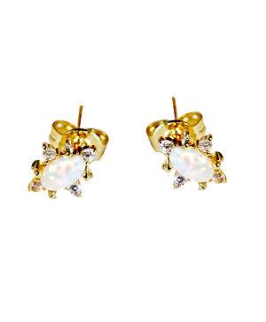 18k yellow gold-plated Opal stud earrings