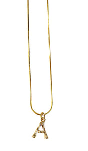 18k gold-plated A letter initial necklace with snake chain